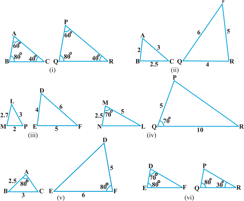 Class 10 triangles exercise 6.3 Question 1 figure